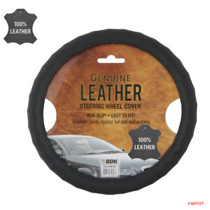 New Premium Genuine Leather Car Truck Black Steering Wheel Cover 15 To 16