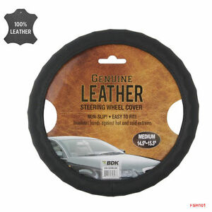 New Bdk Genuine Black Leather Car Truck Steering Wheel Cover Medium Size