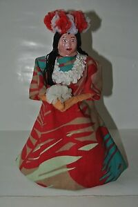 Hawaiian Auntie Folk Art Doll Hand Made On A Mrs Butterworths Bottle Fabulous