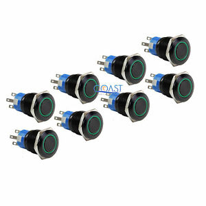 8x Durable 12v 19mm Car Push Button Green Angel Eye Led Latching Light Switch