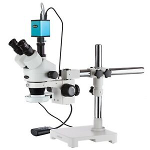 3 5x 90x Trinocular Led Boom Stand Stereo Microscope With 144 led Af Camera