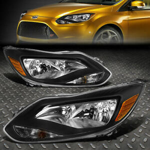 For 2012 2014 Ford Focus Gen3 Pair Black Housing Amber Corner Headlight Lamp