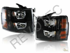 2007 2013 Chevy Silverado Lt Ls Pickup Black Housing Headlights Rh