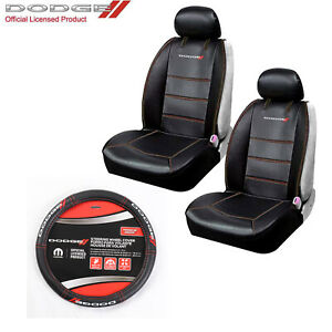 New Dodge Ram Elite Logo Sideless Front Seat Covers Steering Wheel Cover Set