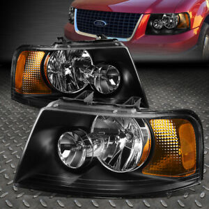For 2003 2006 Ford Expedition Black Housing Amber Side Bumper Headlight Lamp Set