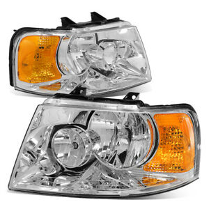 Fit 2003 2006 Ford Expedition Chrome Housing Amber Side Bumper Headlight Lamp