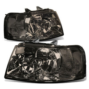Fit 2003 2006 Ford Expedition Pair Smoked Housing Clear Side Headlight Lamp Set