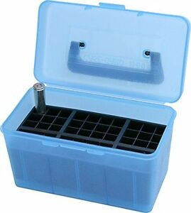 MTM H50 XL 24 Deluxe Handled 50 Round Rifle Ammo Case Box 270 300 WSM 338 Blue