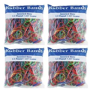 Bazic Assorted Dimensions 227g 0 5 Lbs Rubber Bands Multi Color 465 48p 4 Pack
