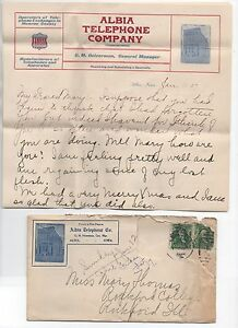 1907 Advertising Cover & Letterhead Albia Iowa Independent Telephone Company