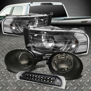 Black Head Light led 3rd Brake smoked Fog Lamps wiring Kit For 02 05 Dodge Ram