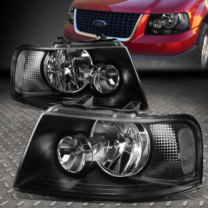 For 2003 2006 Ford Expedition Pair Black Housing Clear Corner Headlight lamp Set