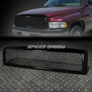 For 94 02 Dodge Ram Black Abs Honeycomb Meshed Front Upper Bumper Grill Guard