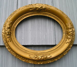 Antique Eastlake Victorian Very Ornate Gold Oval Picture Frame 6 1 2 X 8 1 2