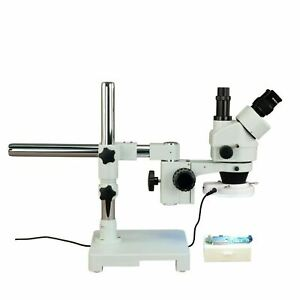 Omax 7x 45x Zoom Stereo Microscope On Single Bar Boom Stand 144 Led Ring Light