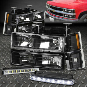 Black Housing Headlight Corner Bumper Led Fog Light For 94 98 C10 C K Suburban