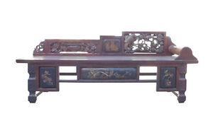 Chinese Vintage Fujian Scenery Carving Daybed Couch Chaise Cs1471