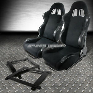 2x Woven Cloth Carbon Look Racing Seat low mount Bracket For 93 02 Chevy Camaro