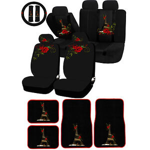 26 Pc Paris In Love Eiffel Tower Red Flower Universal Seat Cover Carpet Mat Car