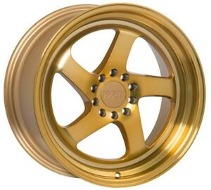 18x8 5 18x9 5 35 F1r F28 5x114 3 Gold Wheels Fit Honda Civic Si Accord V6 S2000