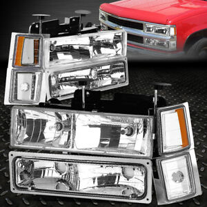 For 94 99 Chevy C10 C k Pickup Truck Chrome Housing Headlight amber Signal Lamp