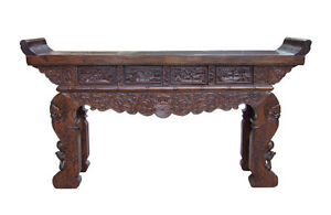 Chinese Vintage Tall Altar Shrine Display Console Table Cs1498