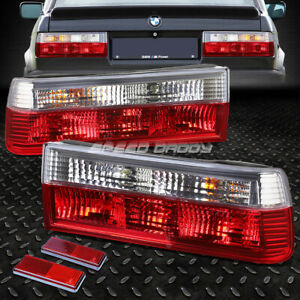 For 84 90 Bmw 3 series E30 Pair Red clear Housing Tail Light Brake Reverse Lamps