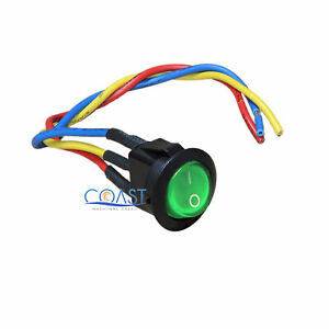 Car Auto Boat 12v 15a On off Round Green Spst Rocker Toggle Switch