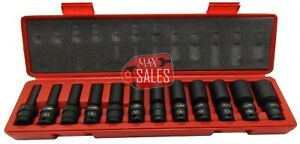 12 Pc 3 8 Drive sae Universal Ball Swivel Deep Imp Socket Set