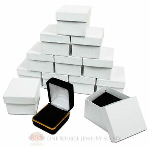 12 Piece Black Velvet Ring Jewelry Gift Boxes Gold Trim 1 7 8 X 2 1 8 X 1 1 2