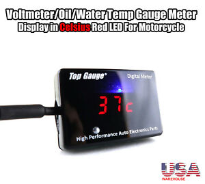 Top Gauge Motorcycle Digital Voltmeter oil water Temp Gauge Red Led 3in1 To Usa