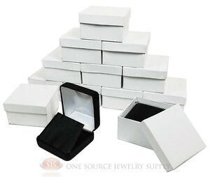 12 Piece Black Leather Flap Earring Jewelry Gift Boxes 2 5 8 X 2 5 8 X 1 3 8