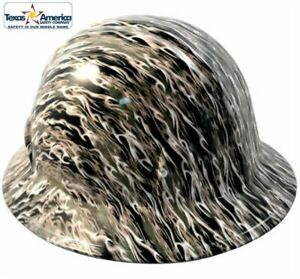 Hydro Dipped Full Brim Hard Hat With Ratchet Suspension White Flames