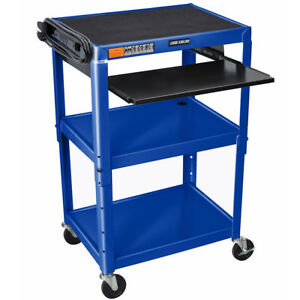 Luxor Avj42kb rb 24 X 18 inch Blue Adjustable Height Metal A v Cart With Tray
