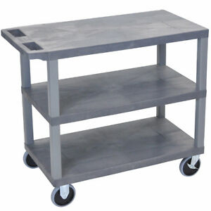 Luxor Ec222 g 32 X 18 inch Gray Cart With Three Flat Shelves