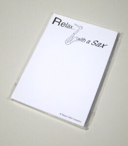 10 Pack White Note Pads relax With A Sax Saxophone Music Stationery Gift