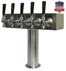 Stainless Steel Draft Beer Tower Made In Usa 5 Faucets Air Cooled tt5cr