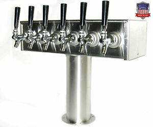 Stainless Steel Draft Beer Tower Made In Usa 6 Faucets Air Cooled Ttb 6ss