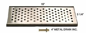 Draft Beer Drip Tray 15 X 5 1 4 With 4 Metal Drain Keg Equipment dt15ss