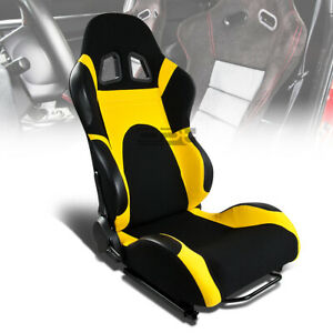 1x Black yellow Reclinable Sports Racing Seats universal Sliders Pa