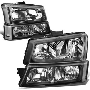 For 2003 2006 Chevy Silverado Black Housing Clear Corner Headlight Bumper Lamps