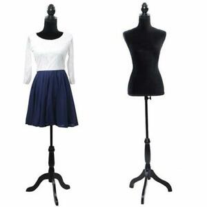 Female Mannequin Torso Clothing Dress Form Display W Black Tripod Stand
