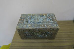 Old Vintage Antique Carved Wood Pictorial Scene Chinese Box Chest 6 X 10 X 5