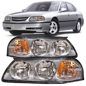 Headlights Halogen Chrome Left Right Pair Set Fits 2000 2005 Chevrolet Impala