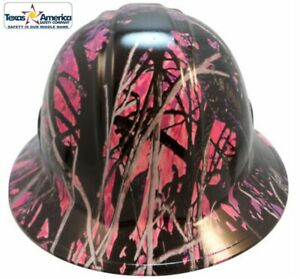Hydro Dipped Full Brim Hard Hat W Ratchet Suspension Muddy Girl Pink Camo