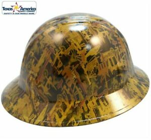 Hydro Dipped Full Brim Hard Hat With Ratchet Suspension Oilfield Camo Yellow