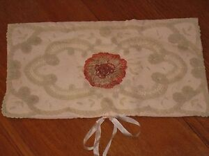 20 S Silk Boudoir Case W Ribbonwork W Gold Metal Brussels Princess Lace Evc