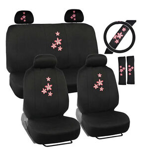 New 13pcs Pink Sakura Flowers Car Front Back Seat Covers Steering Wheel Cover