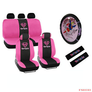 New 13pcs Pink Supergirl Car Front Back Seat Covers Steering Wheel Cover Set