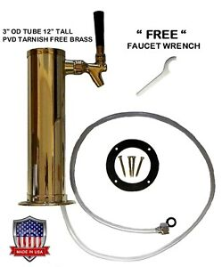 1 Faucet Polished Brass 3 Od Pvd Tarnish Free Brass Draft Beer Tower d4743tbr